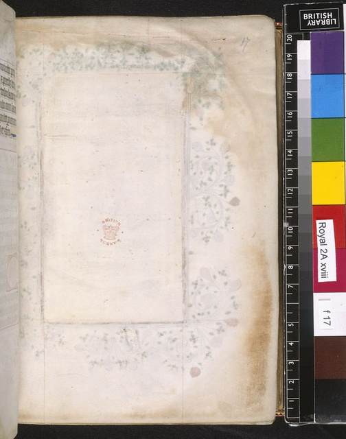 Blank page from BL Royal 2 A XVIII, f. 17