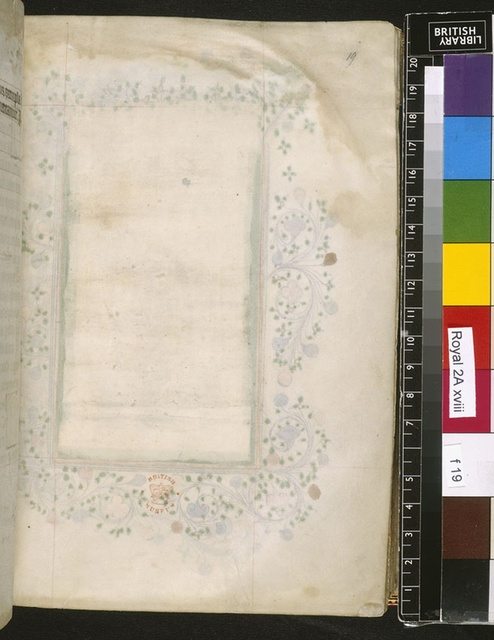 Blank page from BL Royal 2 A XVIII, f. 19