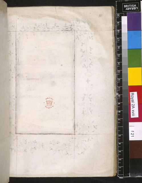Blank page from BL Royal 2 A XVIII, f. 21