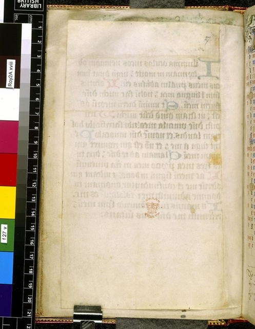 Blank page from BL Royal 2 A XVIII, f. 27v