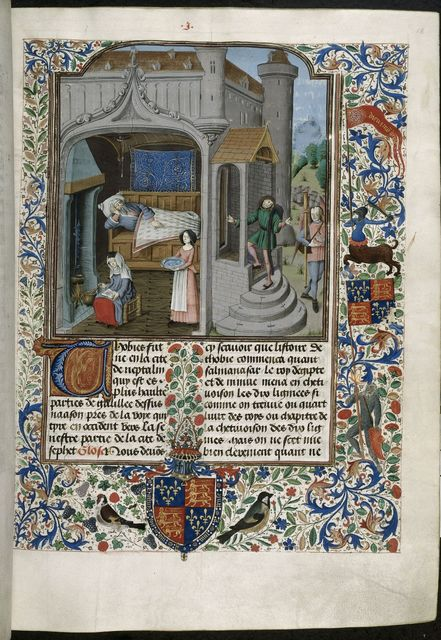 Blinding of Tobit from BL Royal 15 D I, f. 18