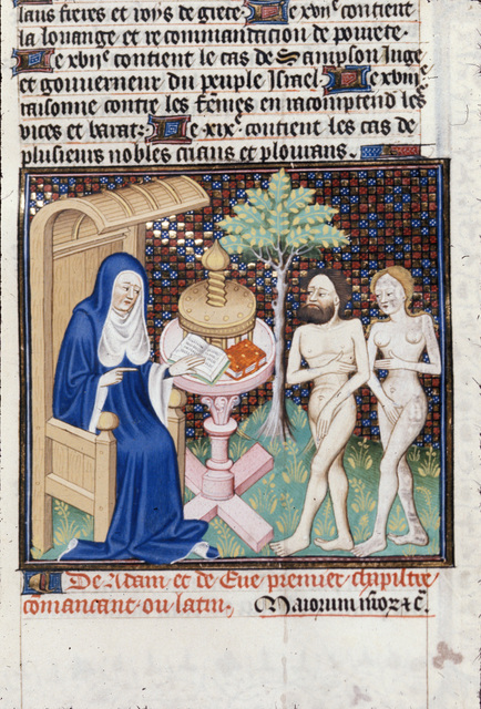 Boccaccio with Adam and Eve from BL Royal 18 D VII, f. 6