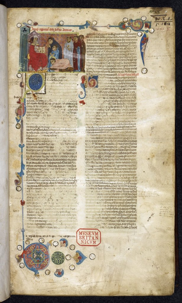 Boniface VIII delivering the Liber Sextus from BL Royal 10 E I, f. 1