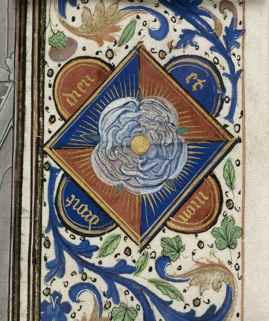Border with Yorkist badge from BL Royal 14 E IV, f. 10