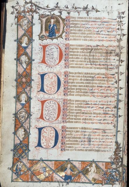 Borders, capital 'D's, text. from BL Royal 10 E IV, f. 1v