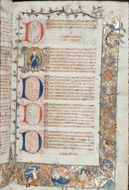 Borders with figures and birds, capital 'D's, text. from BL Royal 10 E IV, f. 2
