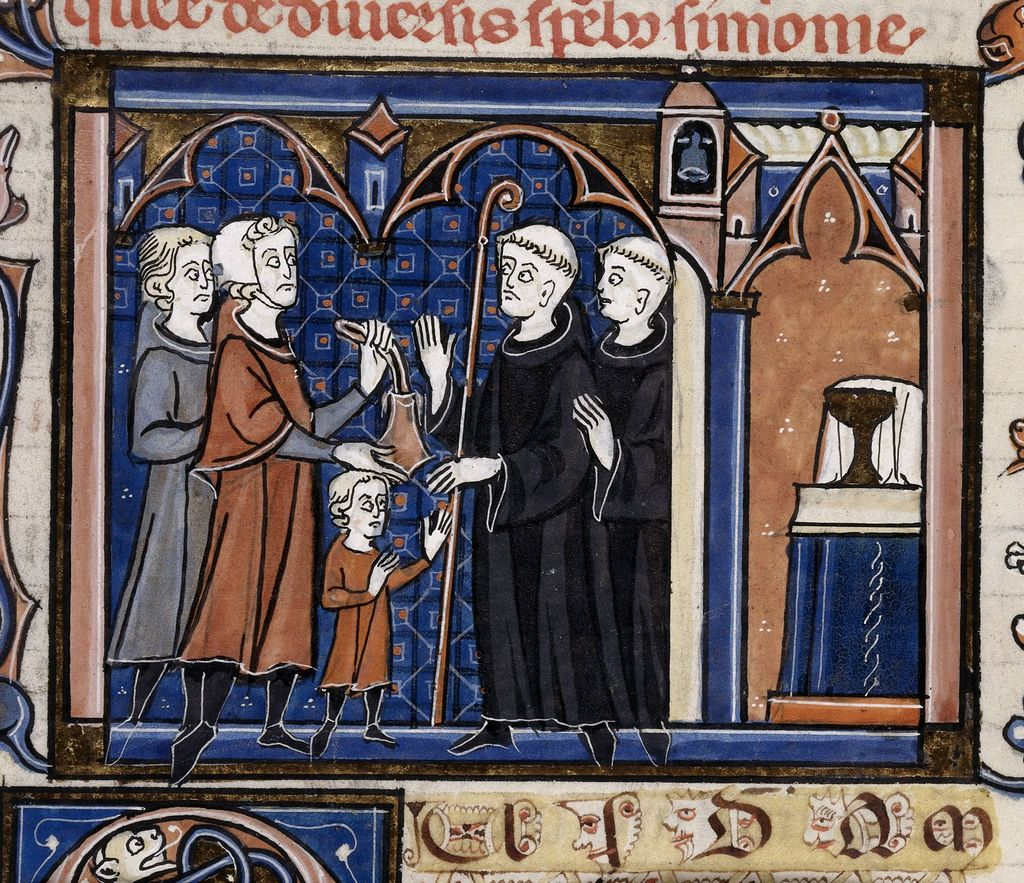 Boy received into a monastery from BL Royal 10 D VIII, f. 82v