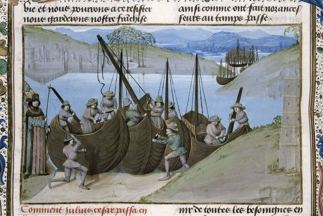 Buildling of Caesar's ships from BL Royal 15 E IV, f. 57v