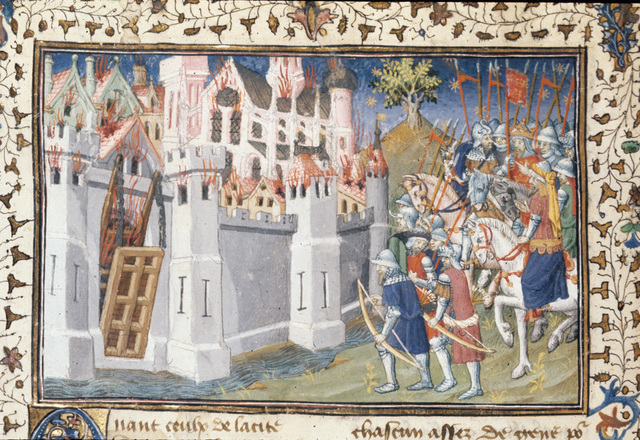 Burning of a city from BL Royal 20 B XX, f. 94v