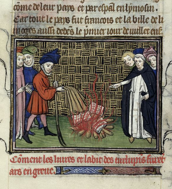 Burning of books from BL Royal 20 C VII, f. 189