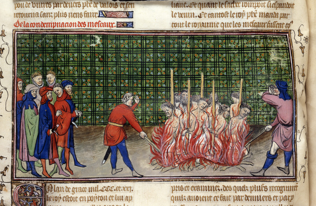 Burning of lepers from BL Royal 20 C VII, f. 56v