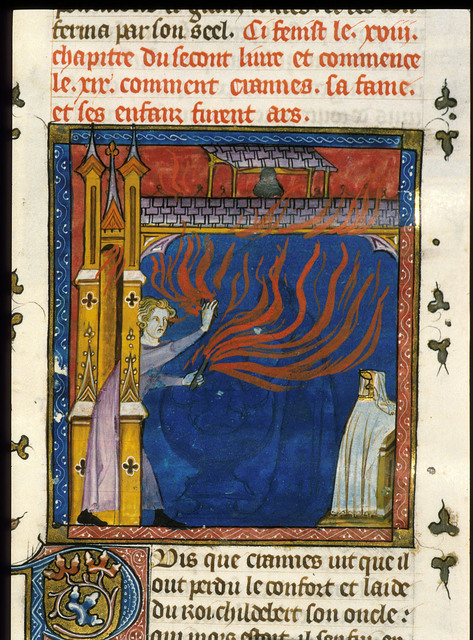 Burning of Tours from BL Royal 16 G VI, f. 37