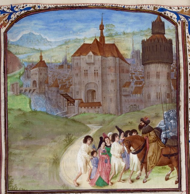 Caesar and fugitives from BL Royal 16 G VIII, f. 255