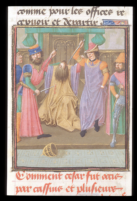 Caesar being murdered from BL Royal 16 G VIII, f. 331v
