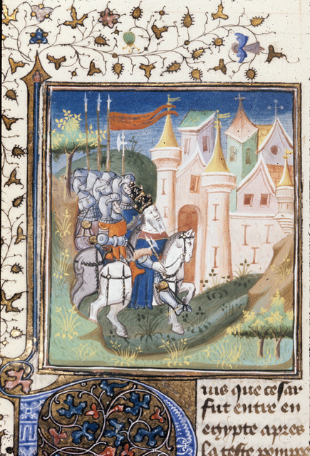 Caesar entering Alexandria from BL Royal 20 C I, f. 207v