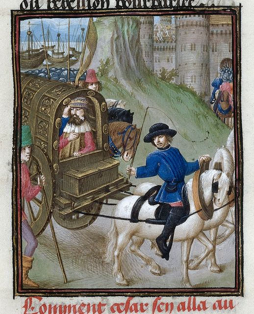 Caesar in a carriage from BL Royal 16 G VIII, f. 297