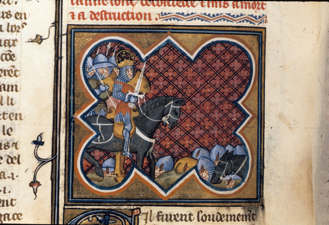 Caesar in battle from BL Royal 16 G VII, f. 254v