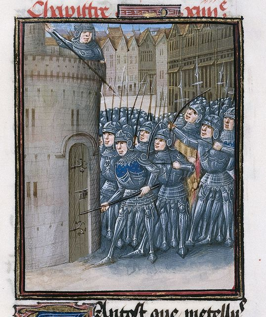 Caesar's army breaking open the Treasure-house from BL Royal 16 G VIII, f. 292