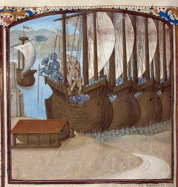 Caesar's fleet from BL Royal 16 G VIII, f. 164v