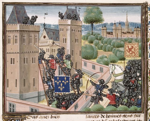 Capture of Wark Castle from BL Royal 18 E I, f. 345