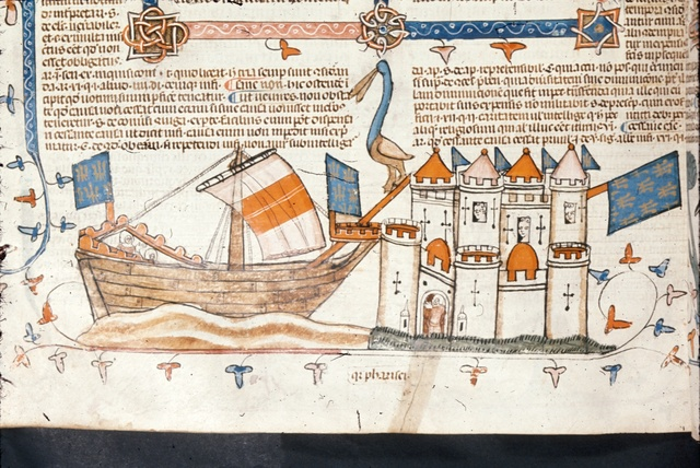 Castle and ship from BL Royal 10 E IV, f. 208v