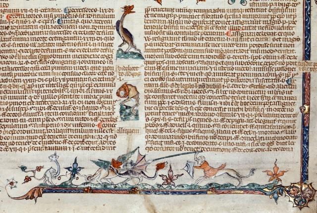 Centaur fighting dragons from BL Royal 10 E IV, f. 173