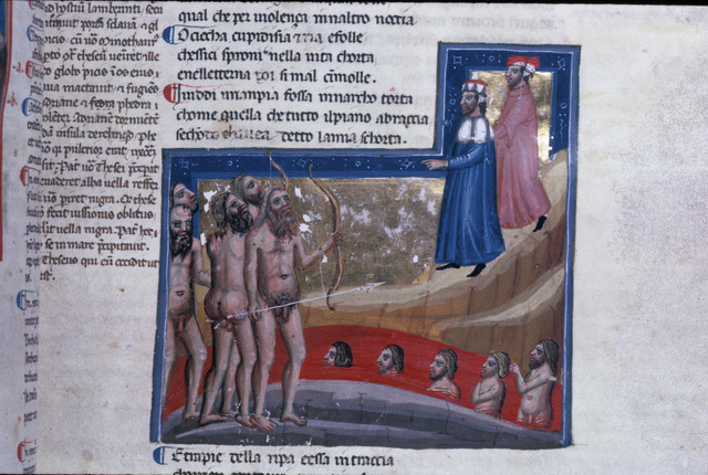Centaurs by the river of blood from BL Eg 943, f. 22