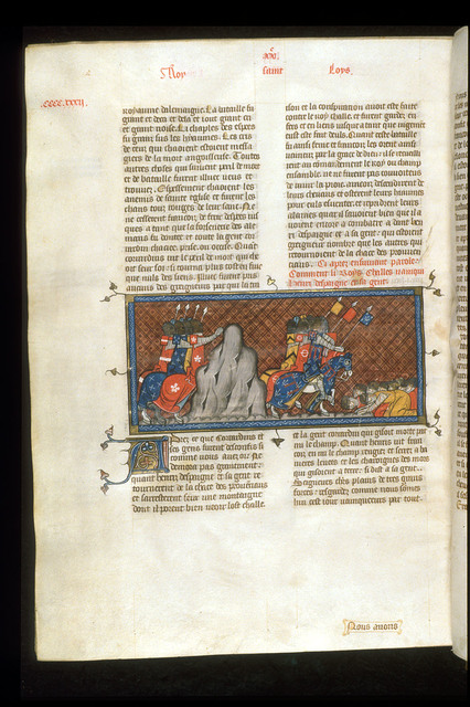 Charles of Anjou defeating Henry of Spain from BL Royal 16 G VI, f. 434v