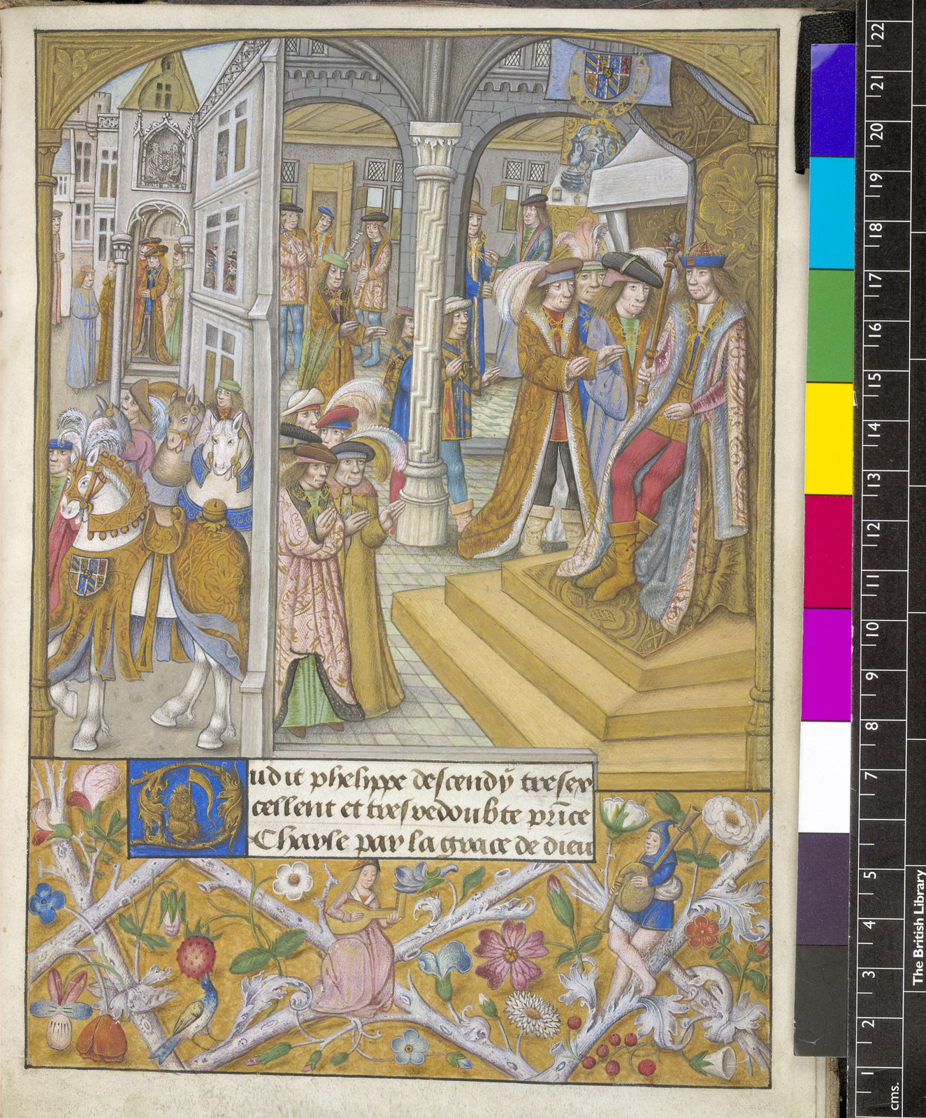 Charles the Bold and his court from BL YT 32, f. 14