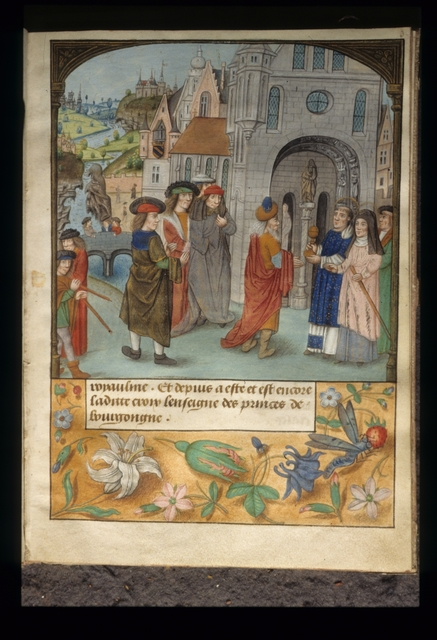 Chilperic receiving saints from BL YT 32, f. 3