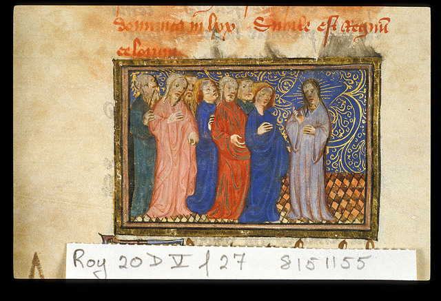 Christ and disciples from BL Royal 20 D V, f. 27