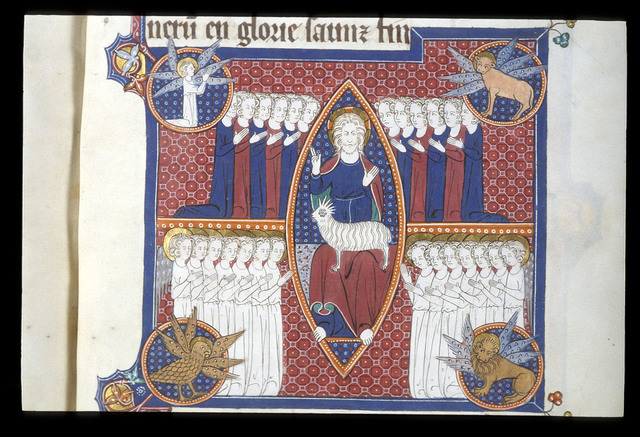 Christ and the Lamb from BL Royal 15 D II, f. 126