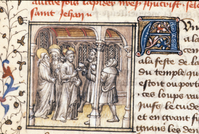 Christ and two disciples from BL Royal 20 B IV, f. 96