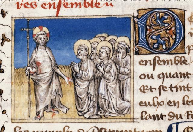 Christ appearing from BL Royal 20 B IV, f. 157v