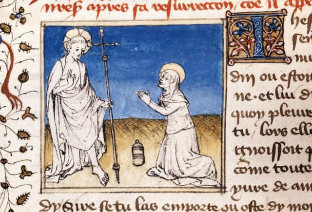 Christ appearing to Magdalene from BL Royal 20 B IV, f. 143v
