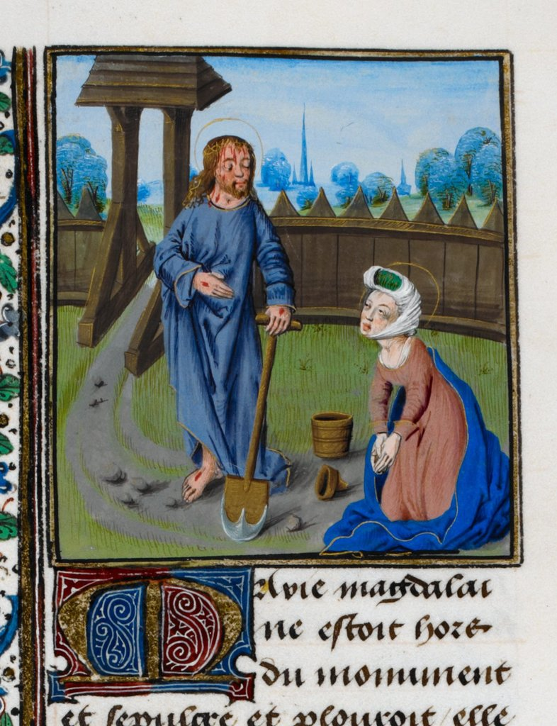 Christ as the Gardener from BL Royal 15 D V, f. 72v