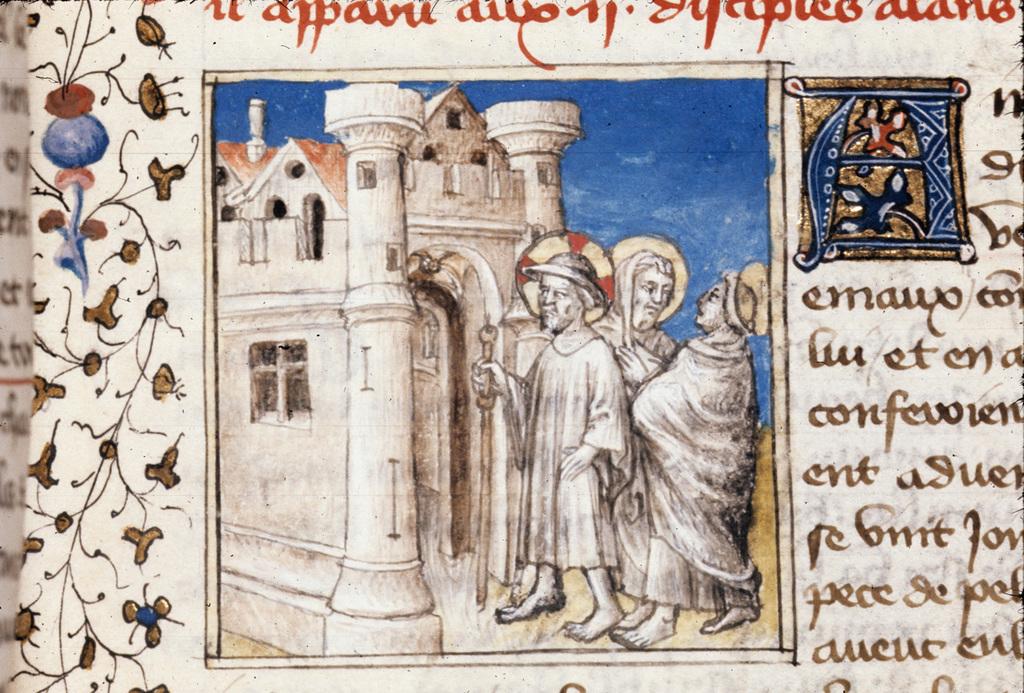 Christ at Emmaeus from BL Royal 20 B IV, f. 147