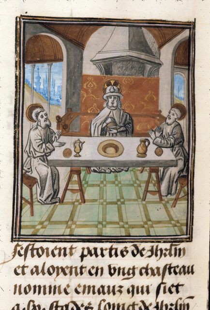 Christ at Emmaus from BL Royal 15 D I, f. 364v