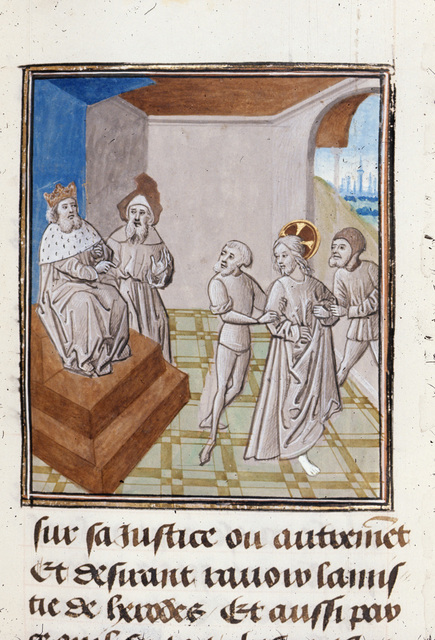 Christ before Herod from BL Royal 15 D I, f. 348