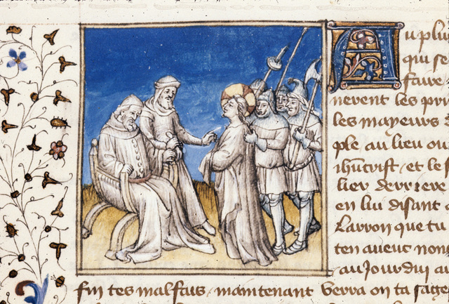 Christ before Pilate from BL Royal 20 B IV, f. 119v