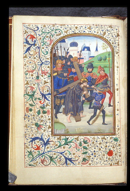 Christ carrying the Cross from BL Harley 1211, f. 12v