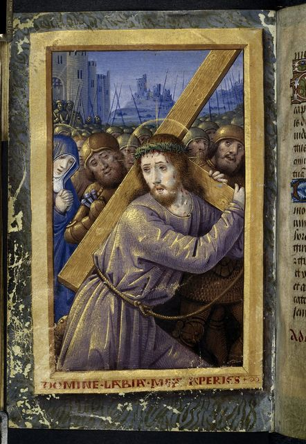 Christ carrying the cross from BL Harley 2877, f. 44v
