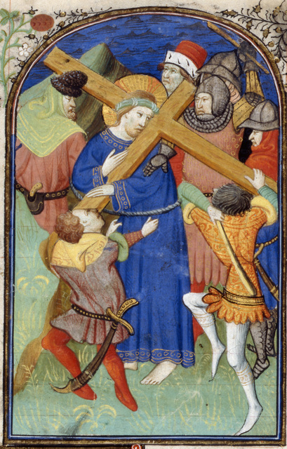 Christ carrying the cross from BL Harley 2900, f. 85