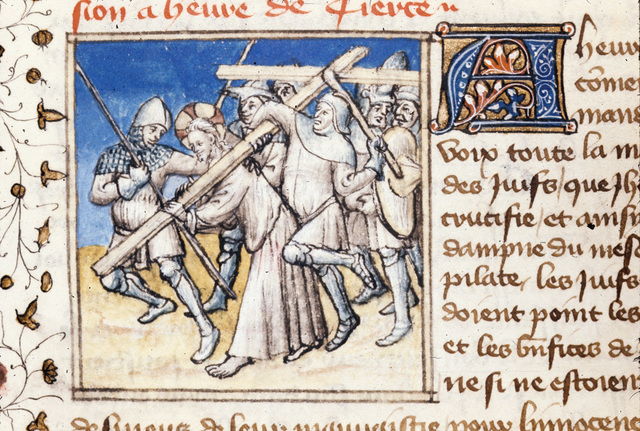 Christ carrying the cross from BL Royal 20 B IV, f. 121v