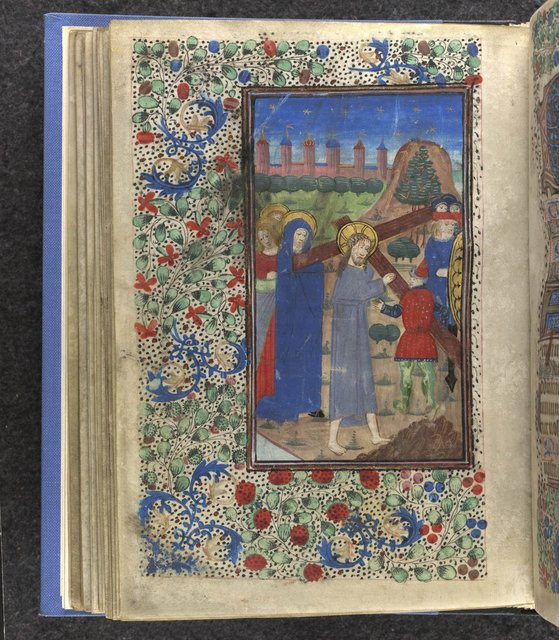 Christ carrying the Cross from BL Sloane 2571, f. 51v