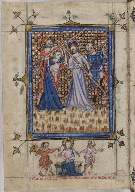 Christ carrying the cross from BL YT 13, f. 120v