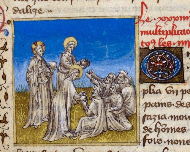 Christ feeding the multitude from BL Royal 20 B IV, f. 70