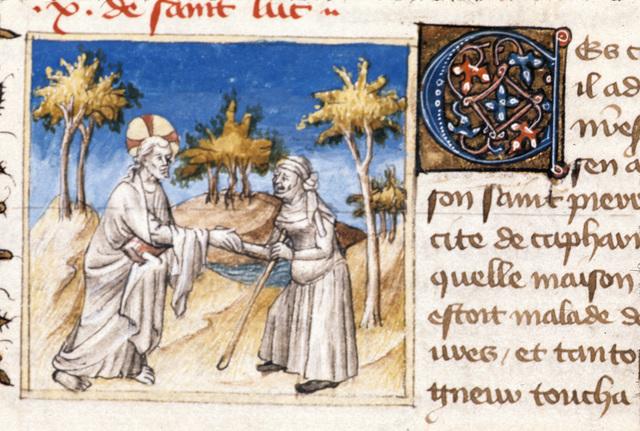Christ healing from BL Royal 20 B IV, f. 60v