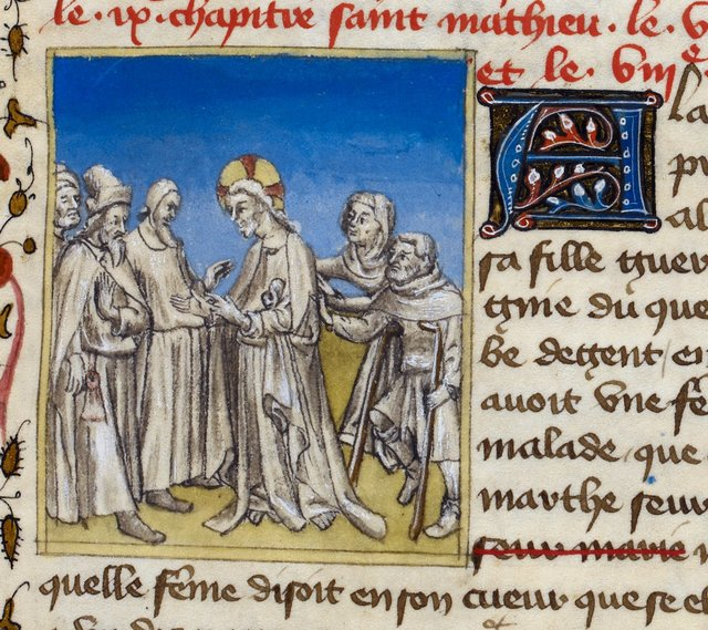Christ healing from BL Royal 20 B IV, f. 62