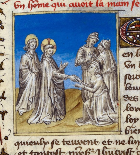 Christ healing from BL Royal 20 B IV, f. 69v